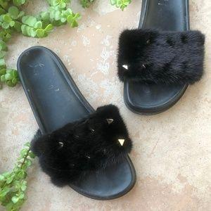 Valentino Garavani Rockstud Mink Fur Slide Sandal